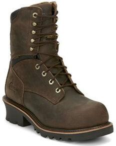 Chippewa Men's Sador Logger Waterproof Work Boots - Composite Toe, Distressed Brown, hi-res