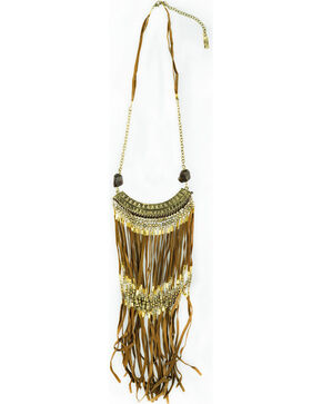 Sincerely Mary Women's Sahara Brown Leather Fringe Necklace, Brown, hi-res