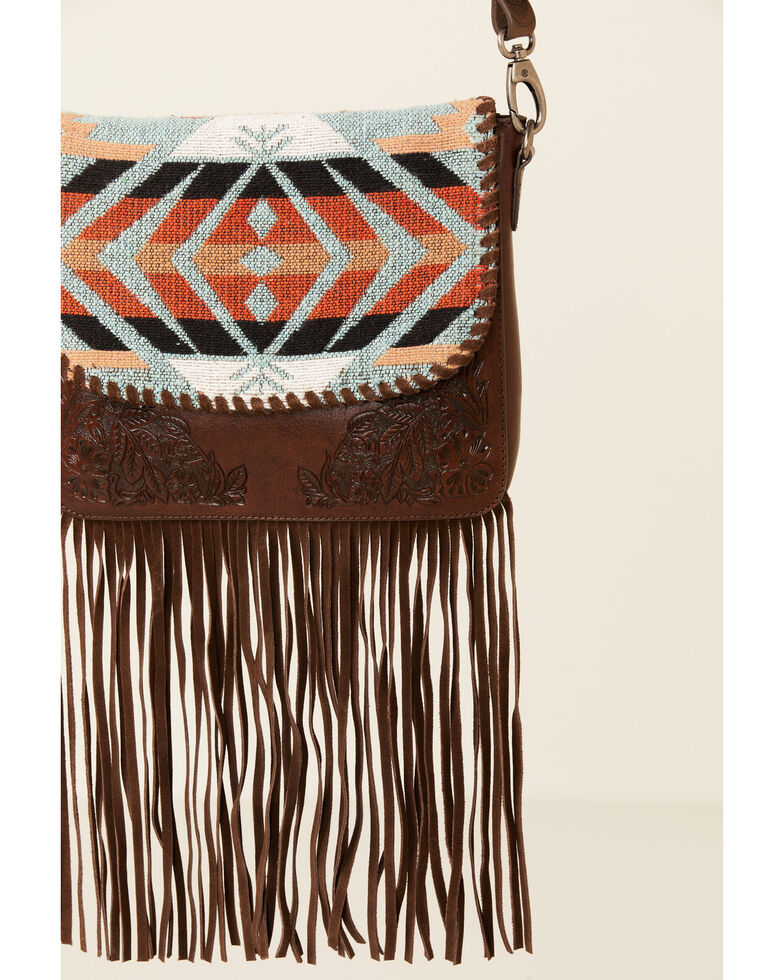 Shyanne Women's Aztec Fringe Crossbody, Brown, hi-res