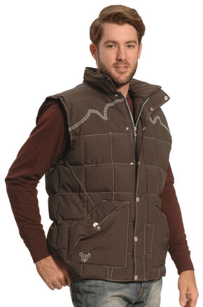Cowboy Hardware Men's Brown Triple Barbwire Nylon Vest , Brown, hi-res