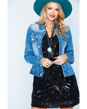 Rock & Roll Cowgirl Women's Light Wash Sequin Pocket Denim Jacket , Indigo, hi-res
