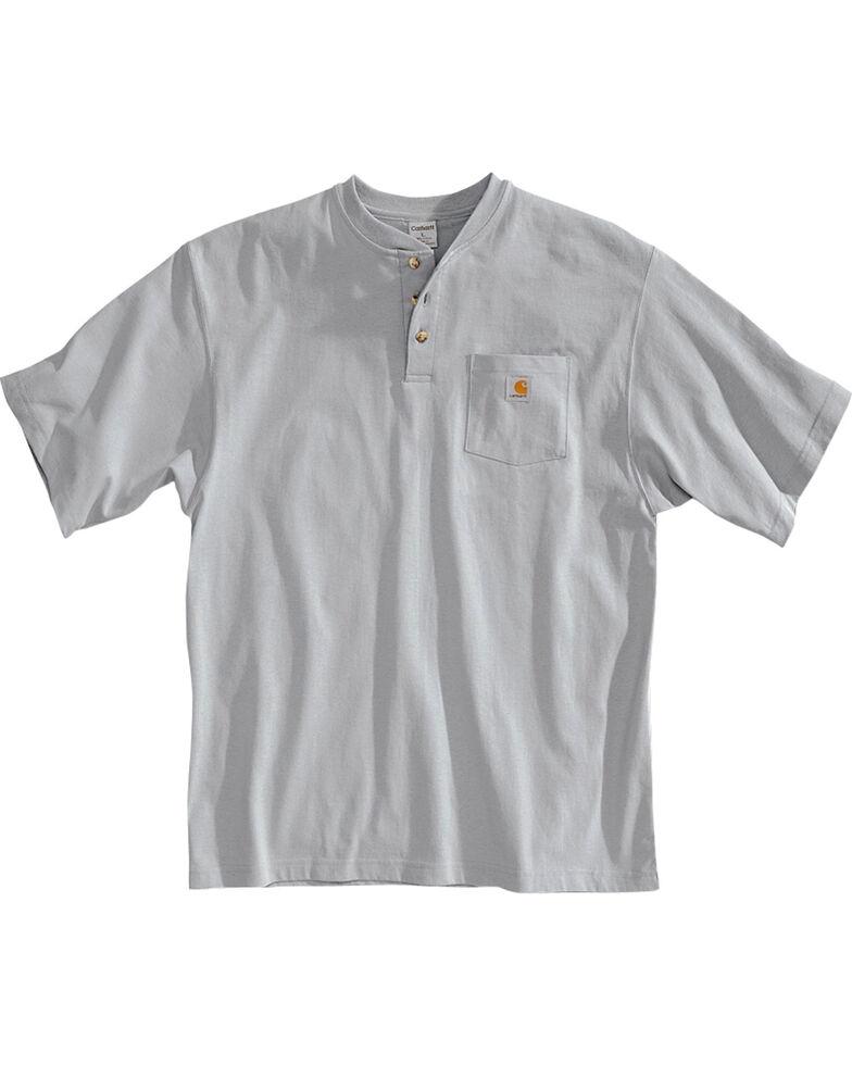 Carhartt Short Sleeve Henley Work Shirt, Grey, hi-res
