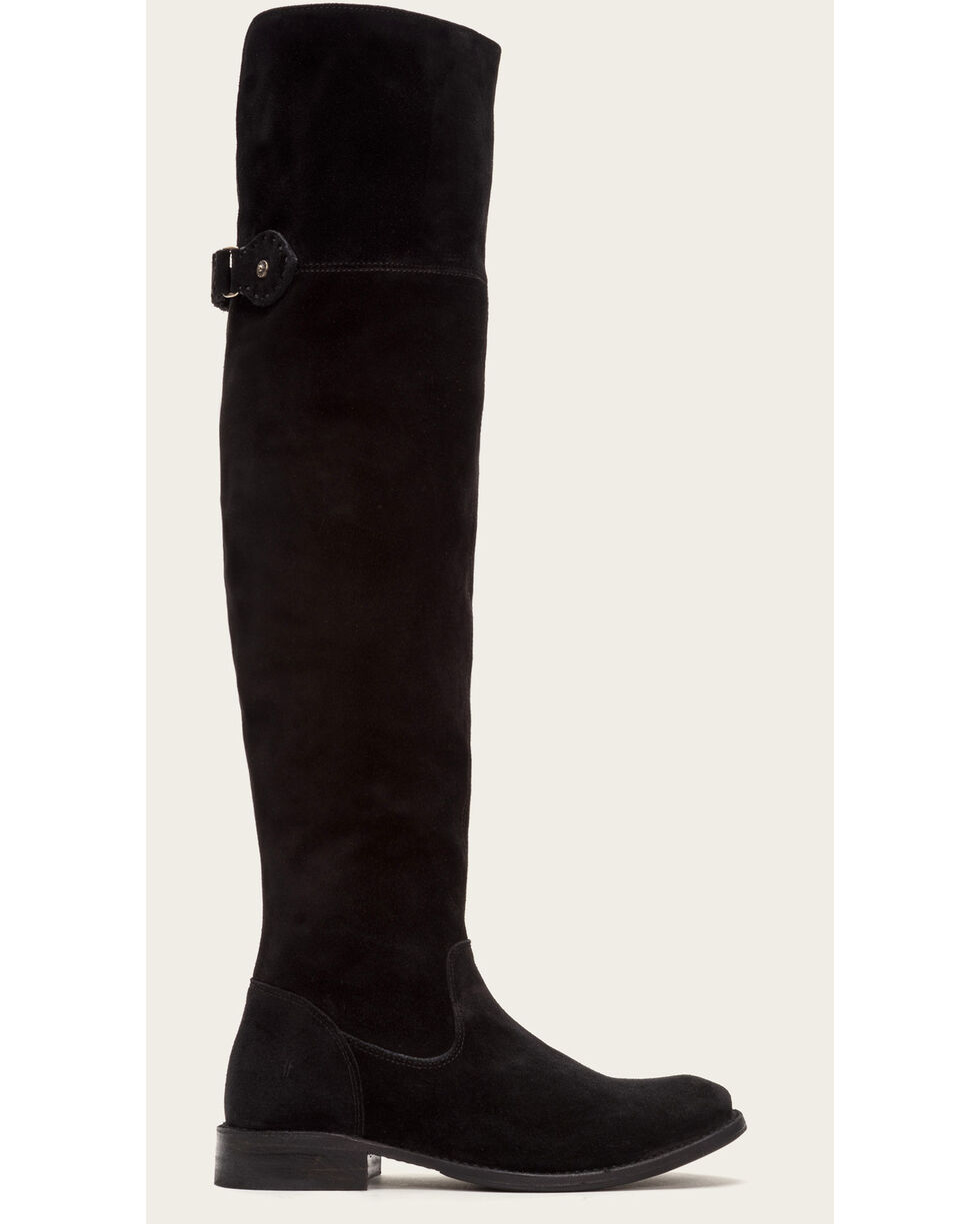 Frye Women's Black Suede Shirley OTK Boots - Round Toe , Black, hi-res