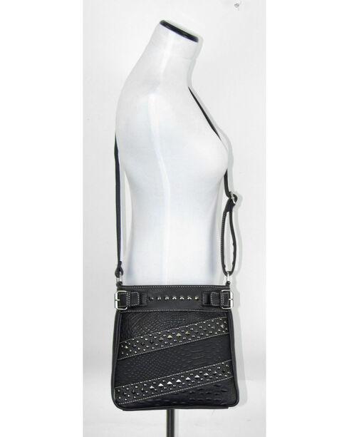 Savana Women's Croc Snake Studded Crossbody Bag, Black, hi-res