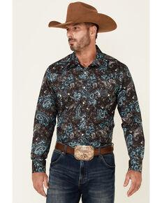 Rock & Roll Denim Men's Brown Paisley Print Long Sleeve Snap Western Shirt , Brown, hi-res