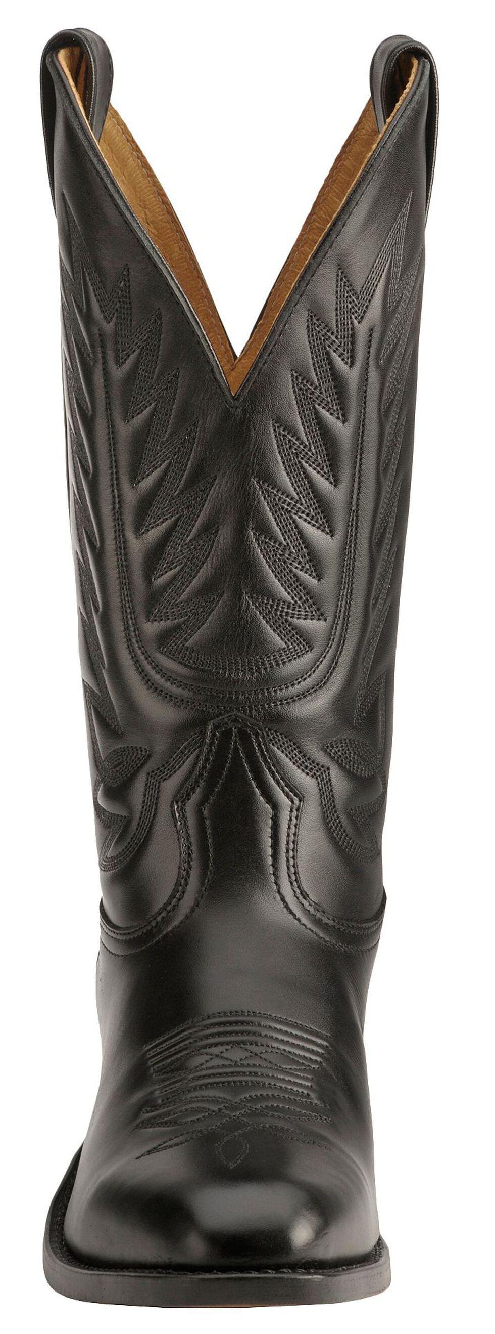 Boulet Dress Cowboy Boots - Round Toe, Black, hi-res