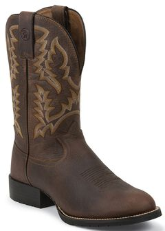Tony Lama 3R Pitstop Cowboy Boots - Round Toe, Brown, hi-res