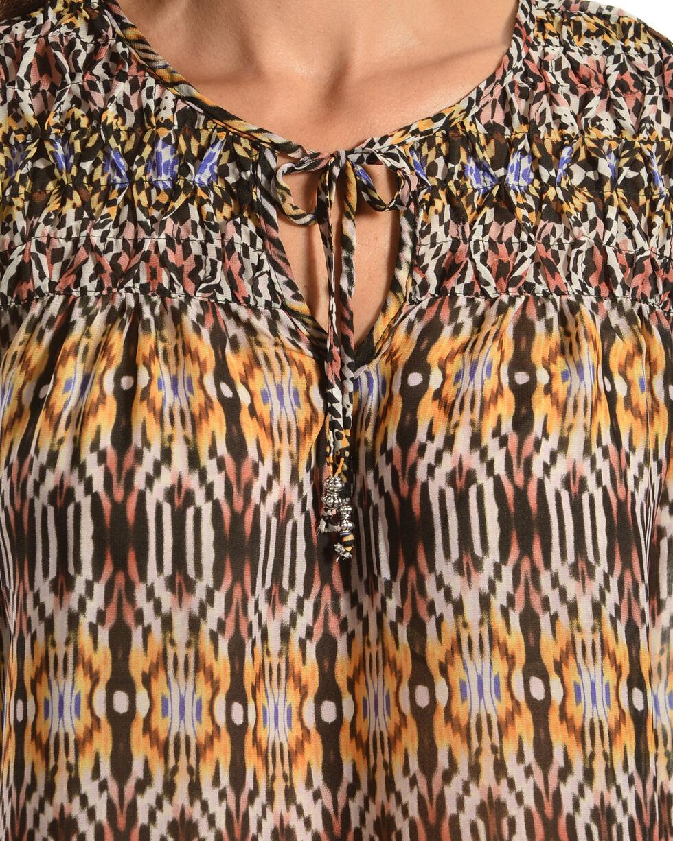 Red Ranch Women's Violet Bohemian Print Tie Blouse, Print, hi-res