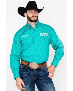 44154d54 Wrangler Mens Ram Rodeo Logo Geo Print Long Sleeve Western Shirt, Teal, hi-