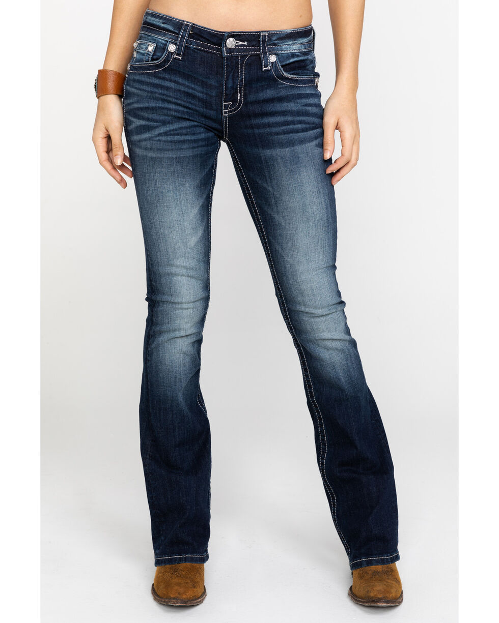 Miss Me Women's Flowing Fleur Embroidered Boot Jeans  , Blue, hi-res