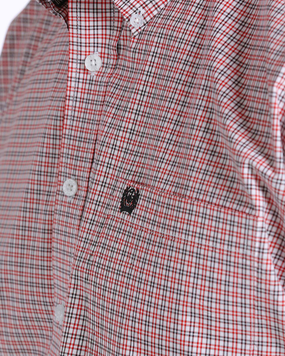 Cinch Men's Plaid Short Sleeve Button Down Shirt, White, hi-res
