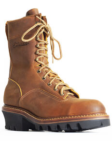 "Silverado Men's 9"" Logger Work Boots - Steel Toe, Tan, hi-res"
