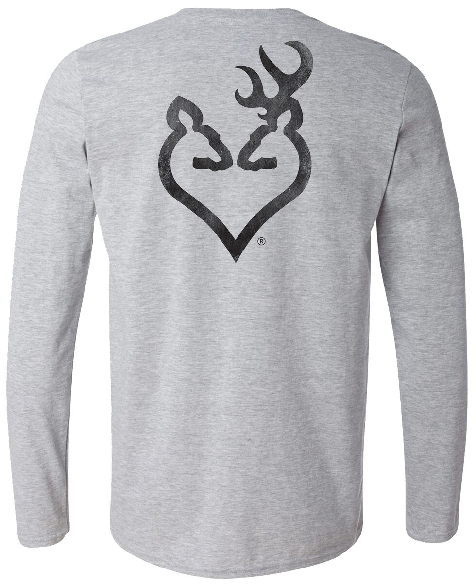 Browning Women's Distressed Black Buckheart Grey Long Sleeve Tee, Grey, hi-res