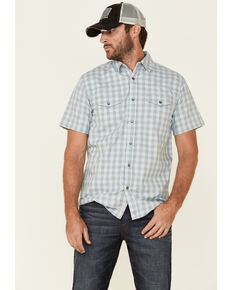 Moonshine Spirit Men's Checkered Past Plaid Short Sleeve Western Shirt , Blue, hi-res