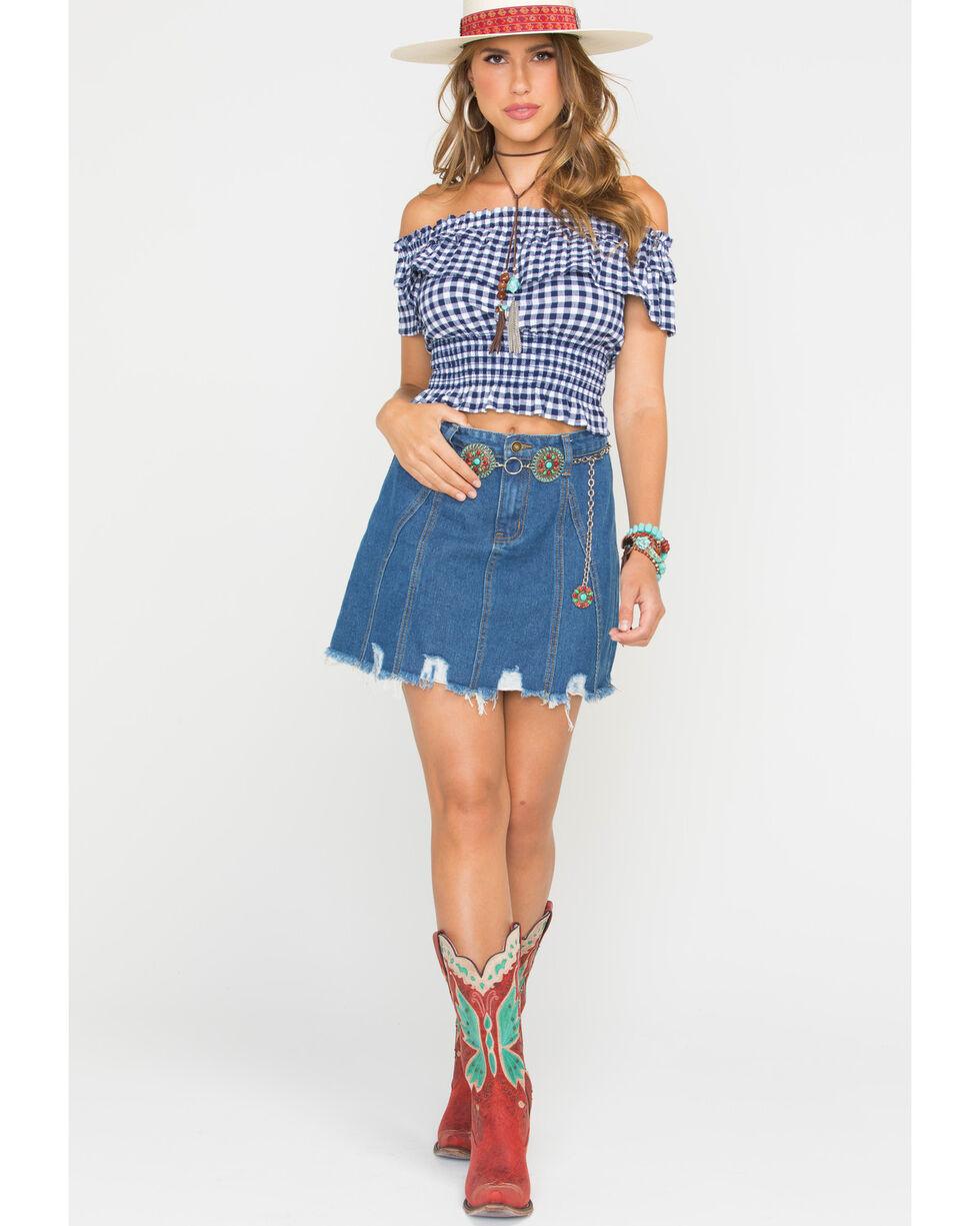 Sage the Label Women's Indigo Dance Til Dark Mini Skirt , Indigo, hi-res