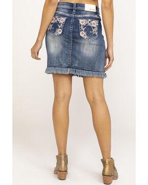 Grace in LA Women's Floral Embroidered Frayed Denim Skirt , Blue, hi-res