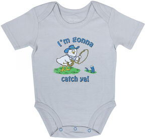 "Wrangler Infant Boys' Short Sleeve ""Gonna Catch Ya"" Onesie, Khaki, hi-res"