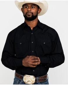 Stetson Men's Solid Poplin Snap Long Sleeve Western Shirt , Black, hi-res