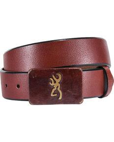 Browning Men's Brass Buckle with Buckmark Leather Belt, Cognac, hi-res