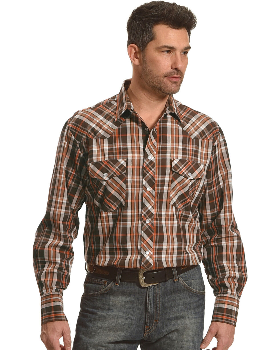 Roper Men's Brown Western Snap Plaid Shirt , Brown, hi-res