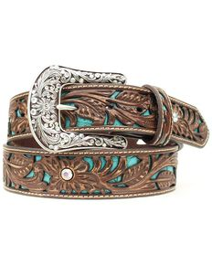 Ariat Tooled Turquoise Leather Inlay Belt, Brown, hi-res