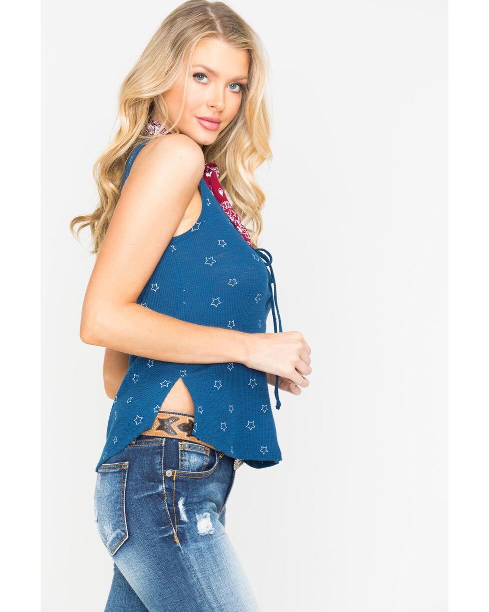 Shyanne Women's Star Printed Waffle Knit Tank, Blue, hi-res