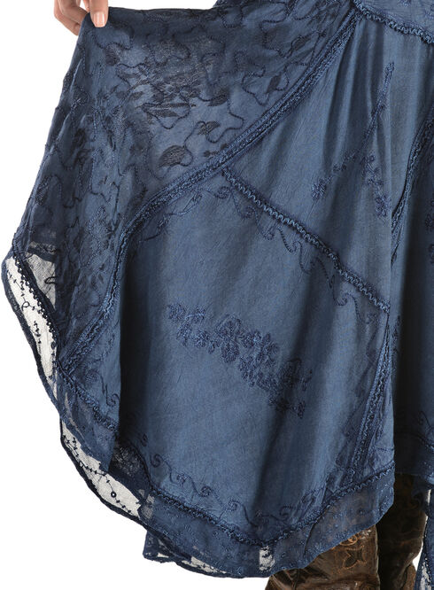 Scully Diagonal Embroidered Long Skirt, Blue, hi-res