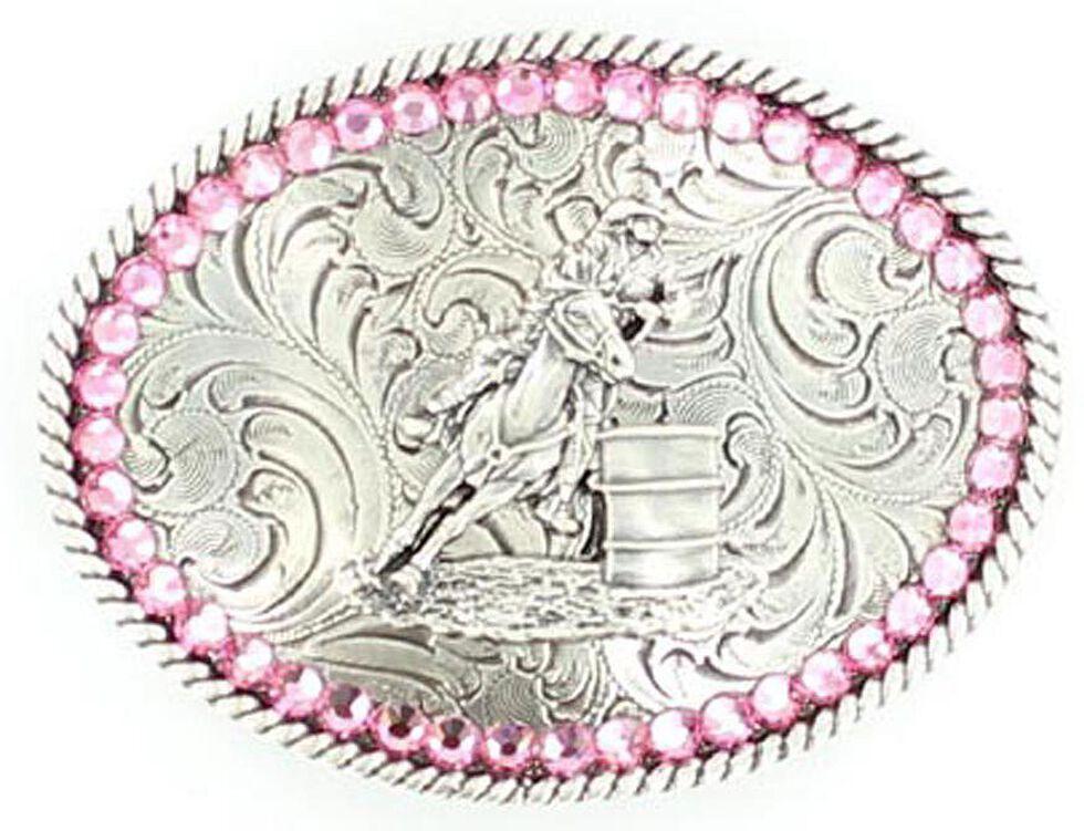 Girls' Barrel Racer Pink Rhinestones Belt Buckle, Silver, hi-res