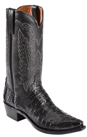 Lucchese Handcrafted 1883 Hornback Caiman Tail Cowboy Boots - Snip Toe, Black, hi-res