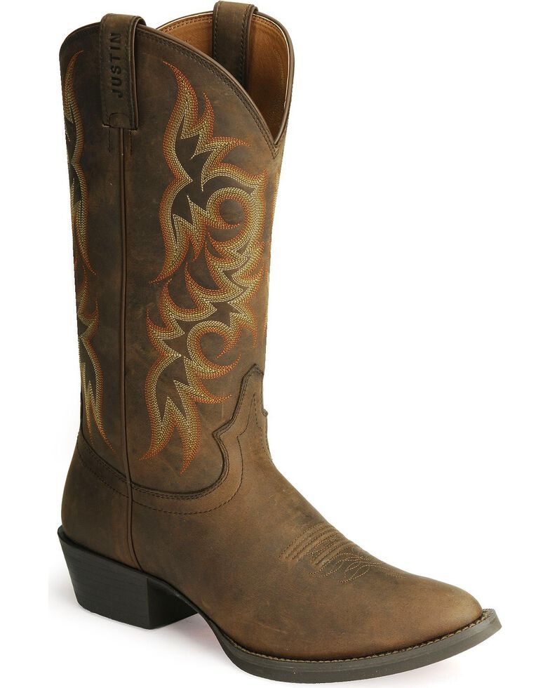Justin Stampede Western Apache Cowboy Boot - Medium Toe, Sorrel, hi-res