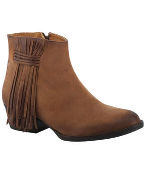 Circle G Women's Brown Fringe Booties - Round Toe, Tan, hi-res
