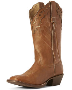 Ariat Women's Ember Dusted Western Boots - Wide Square Toe, Wheat, hi-res