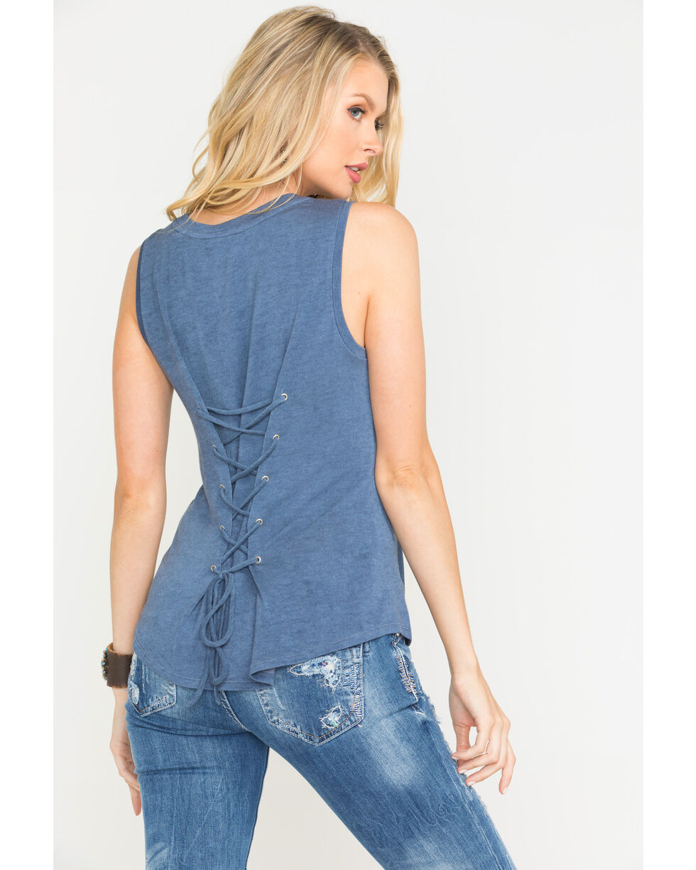 Miss Me Women's Pull It Together Tank, Indigo, hi-res