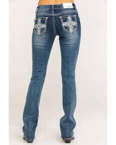 Grace in LA Women's Cross Bootcut Jeans, Blue, hi-res