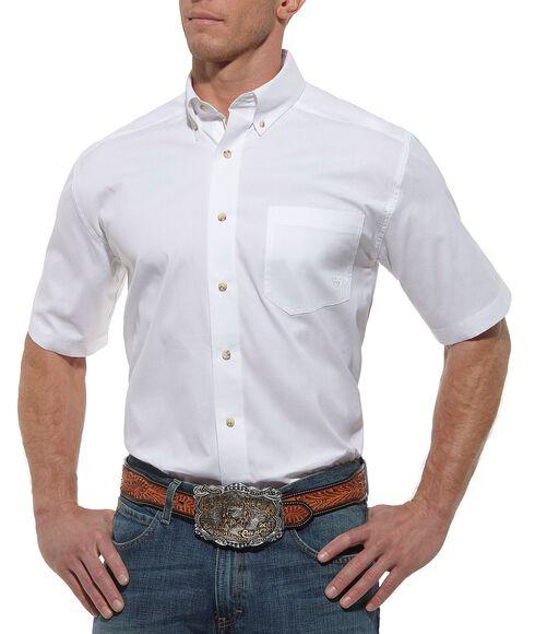 Ariat Solid White Poplin Shirt, White, hi-res
