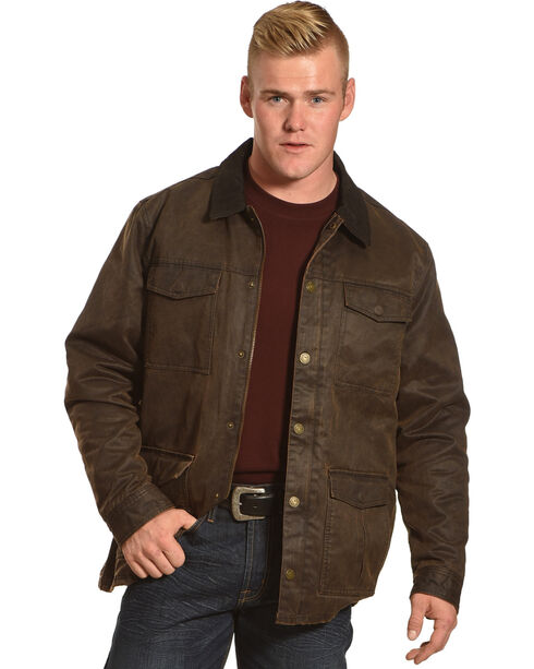 Cody James Men's Oilskin Jacket, Brown, hi-res