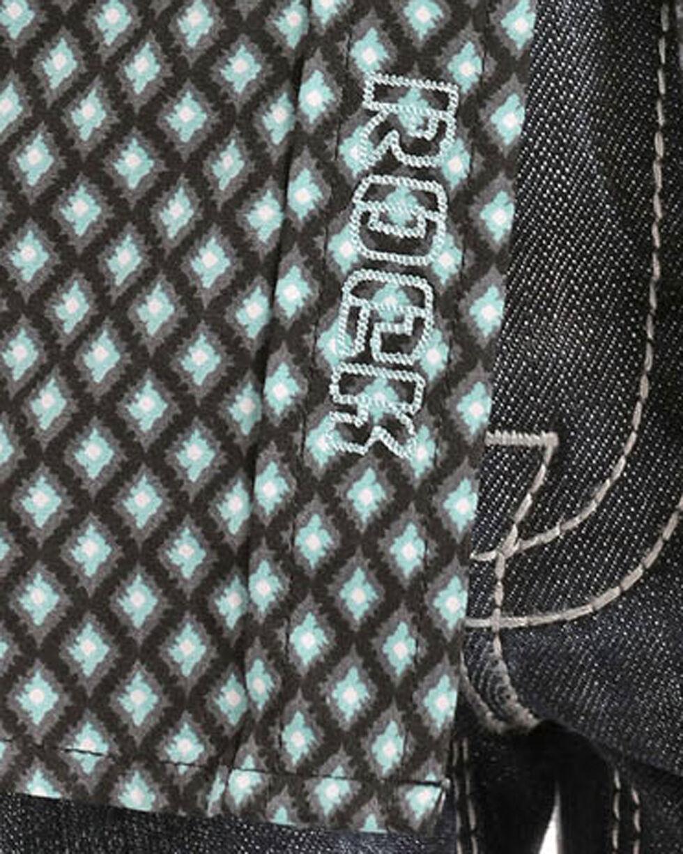 Rock & Roll Cowboy Boys' Diamond Print Long Sleeve Snap Shirt, Green, hi-res