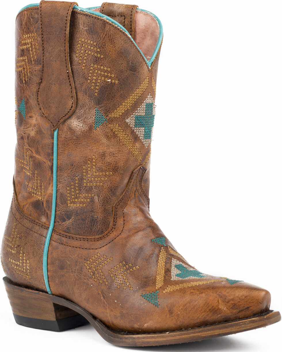 Roper Girls' Mai Native Embroidered Design Cowgirl Boots - Snip Toe , Tan, hi-res