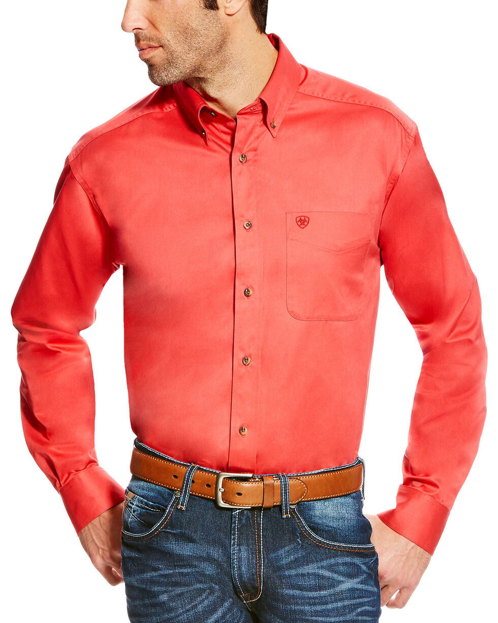 Ariat Men's Solid Twill Long Sleeve Button Down Shirt, Orange, hi-res