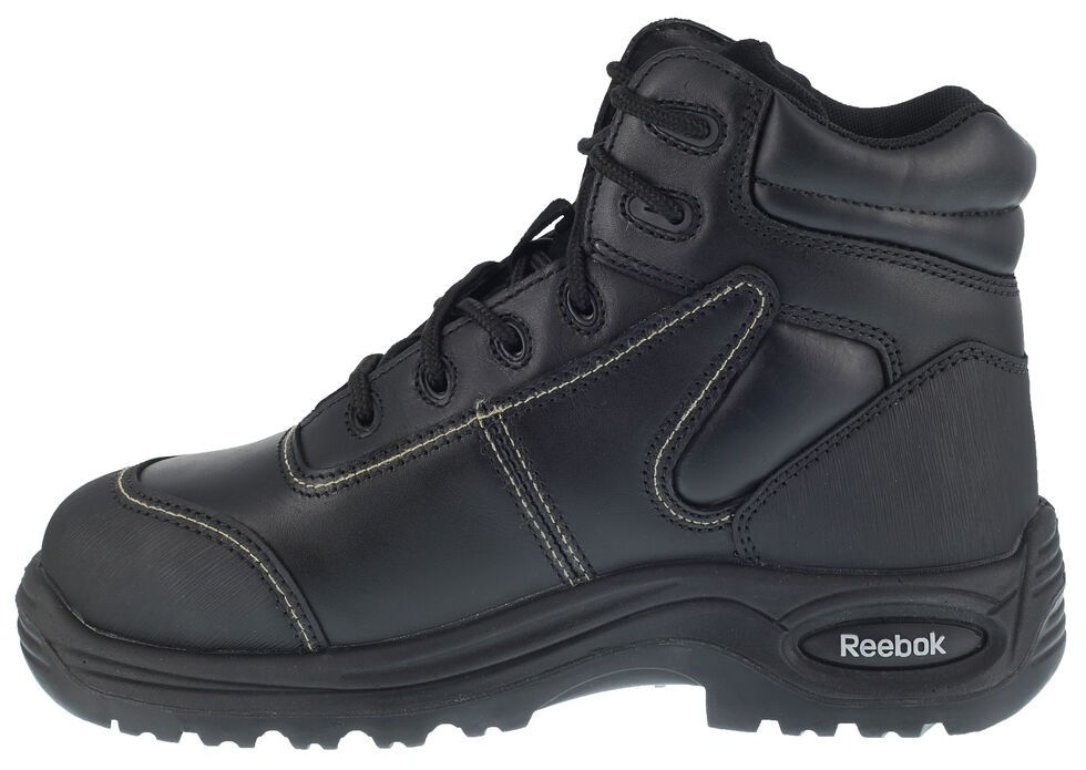 "Reebok Men's Trainex 6"" Lace-Up Internal Met Guard Work Boots - Composite Toe, Black, hi-res"
