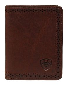 Ariat Perforated Edge Embossed Logo Bi-fold Wallet, Copper, hi-res