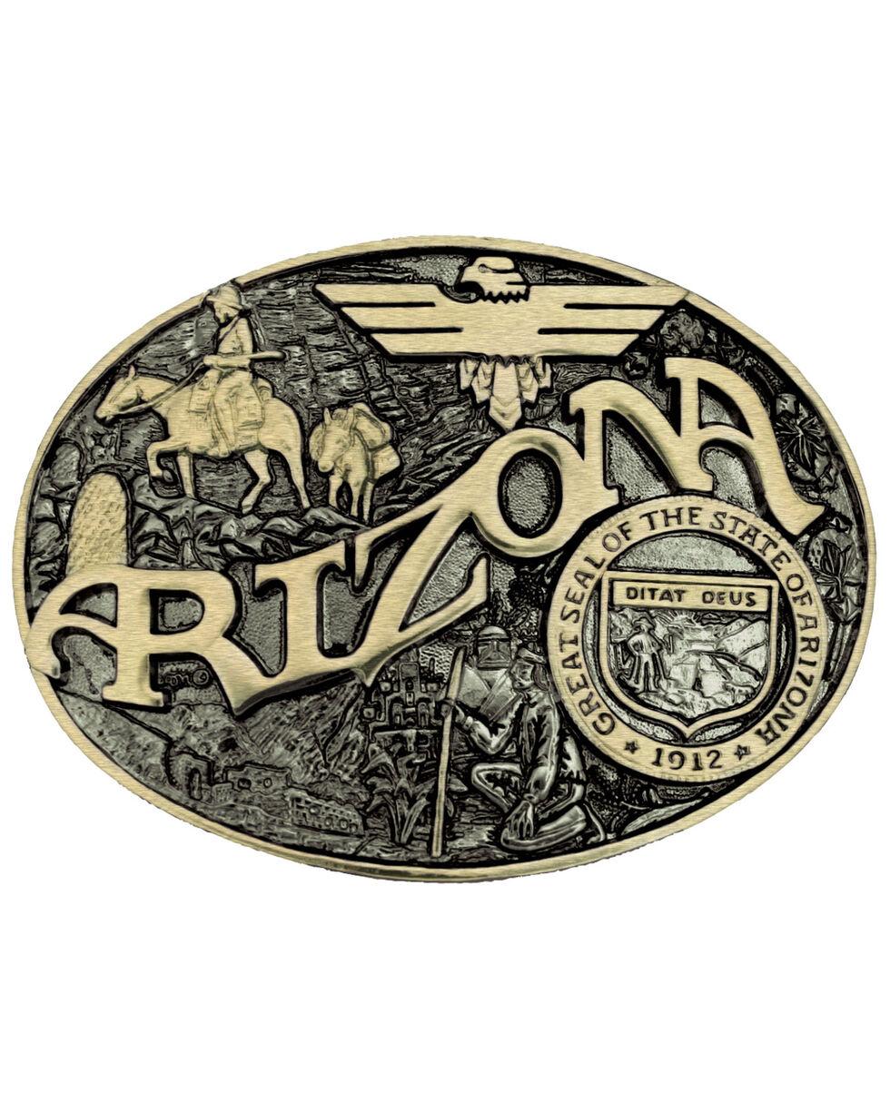 Montana Silversmiths Arizona State Heritage Attitude Belt Buckle, Gold, hi-res