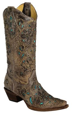 Corral Studded Turquoise Leather Inlay Cowgirl Boots - Snip Toe, Brown, hi-res