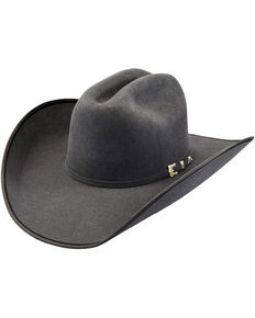 Justin Bent Rail Men's Granite 7X Hooked 2 Felt Cowboy Hat, Grey, hi-res
