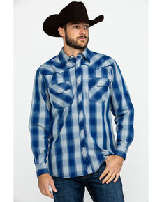 Cowboy Hardware Men's Royal Classic Plaid Long Sleeve Western Shirt , Royal Blue, hi-res