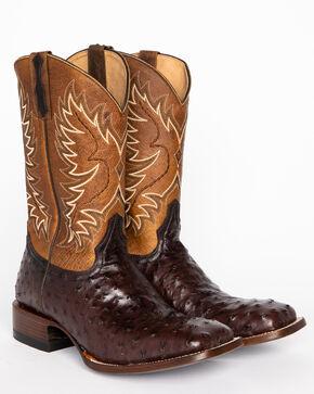 Cody James Men's Ostrich Tobacco Exotic Boots - Square Toe , Tobacco, hi-res