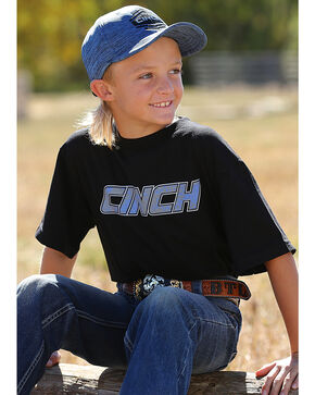 Cinch Boys' Short Sleeve Glow-in-the-Dark Logo Tee, Black, hi-res