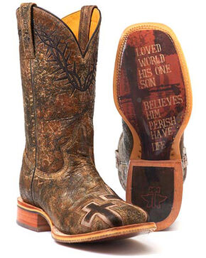 Tin Haul Men's John 3:16 Western Boots - Square Toe, Brown, hi-res