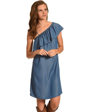 Given Kale Women's Indigo One Shoulder Ruffle Dress , Indigo, hi-res