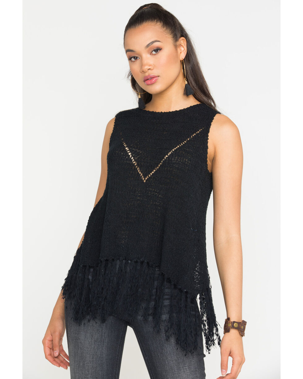 Miss Me Women's Black Cool Off Knit Top , Black, hi-res